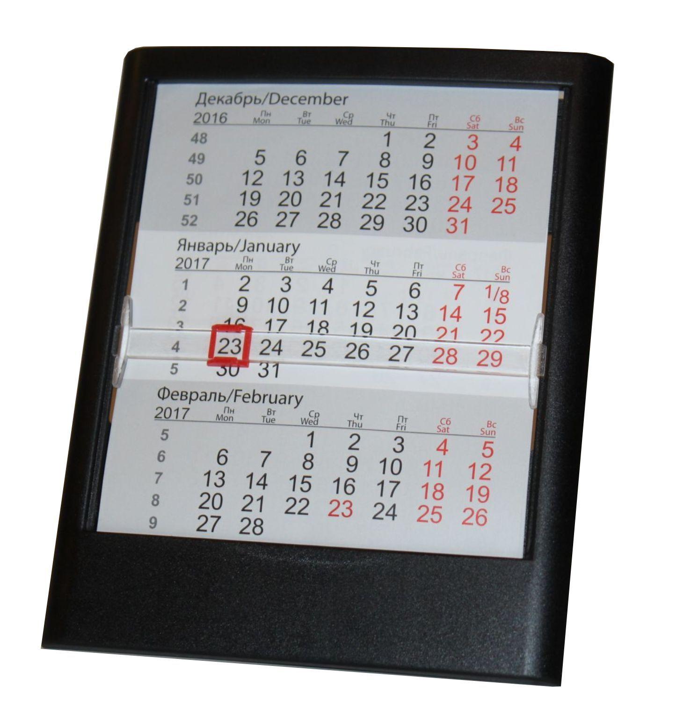 Черный настольный календарь на 2 года