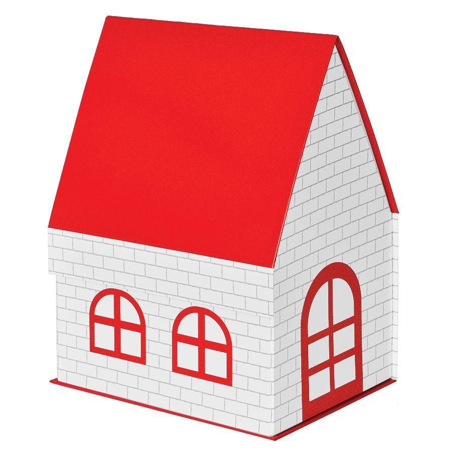 Красная подарочная коробка Дом