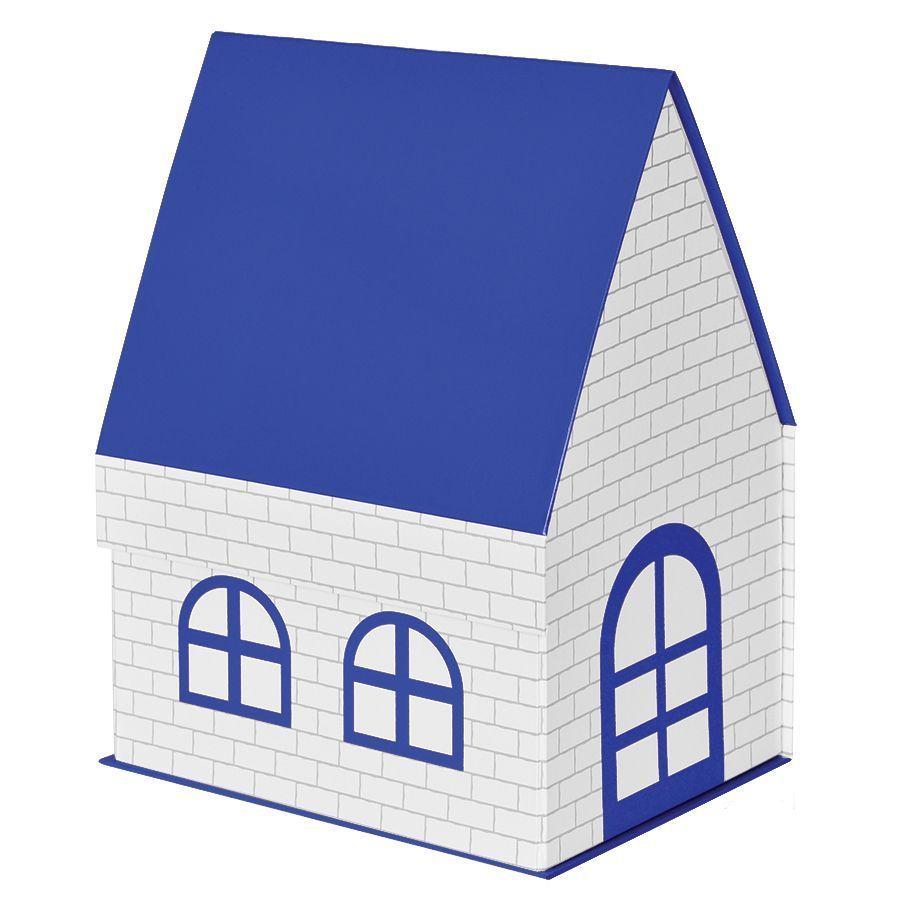 Синяя подарочная коробка Дом