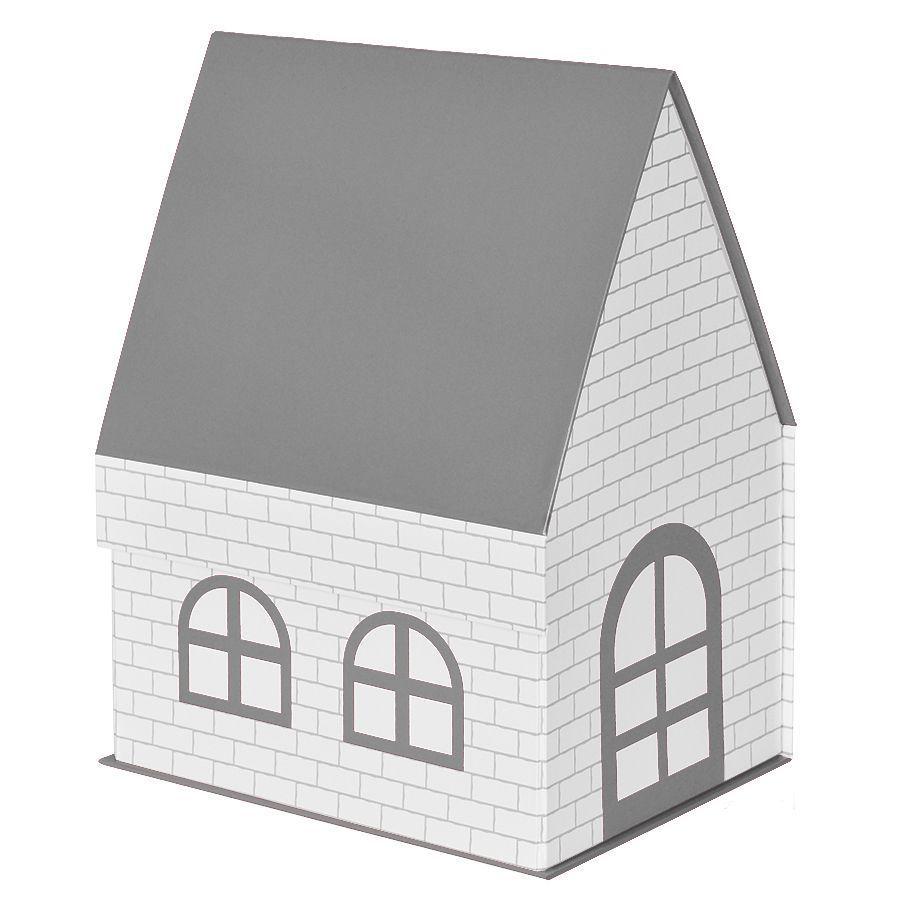 Серая подарочная коробка Дом